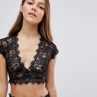 ASOS DESIGN Petite Eyelash Lace Crop Bralet at asos.com