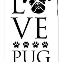 Love Pug Dog Direct Print (not a sticker) Apple ipod 5 Ipod 5g Quality Hard Case Snap On Skin for ipod Gen 5 and 5, 5G (WHITE CASE)