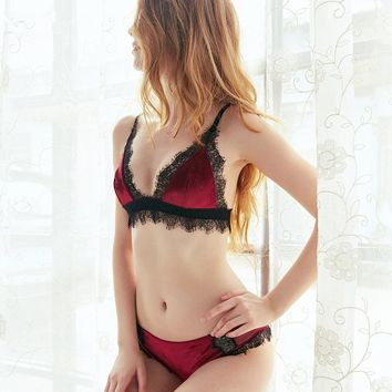 CINOON Eyelashes Lace Velvet Bra Set Underwear Women Triangle Cup Luxury sexy lace lingerie Soft Sexy lace Bralette