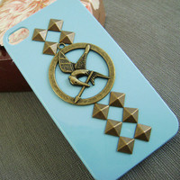 The Hunger Games Mockingjay Logo Bronze studded blue iPhone 4/4S case, Apple iPhone 4 Case, iPhone 4s Case, Hard Case-Brass Hunger Games