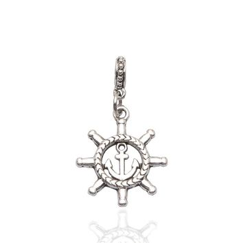 Hot Sale Silver The Pirate Ship Steering Compass Beads Charms Fit Women DIY Pandora Bracelets & Bangles Jewelry H081