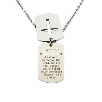 Mens Scripture Double Tag Necklace - Psalm 55:22