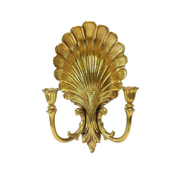 Sconce Candle Holders Ornate Wall Mount Vintage Gold Hollywood Regency Decor Syroco Hanging  Scroll Filigree Scalloped Shell Double Arm MCM