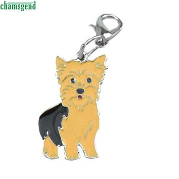 CHAMSGEND Happy High Quality New Design Cute Metal Dog Yellow Tag Disc Disk Pet ID Enamel Accessories Collar Necklace Pendant