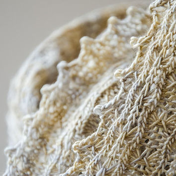 Silk knitted cowl, silk möbius scarf, wool cowl, snood, knitted wrap, silver gold colour hand dyed yarn 'Tuck'