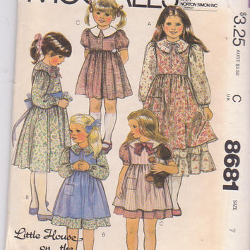 Little House on the Prairie dress pattern with wide collar, optional ruffles, sleeve variations, pinafore girls size 7 McCall's 8681 UNCUT