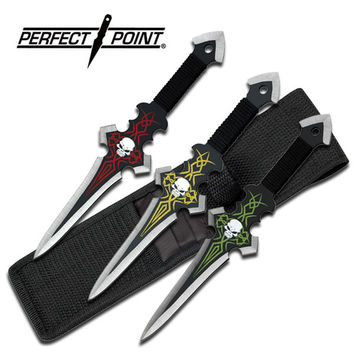 Perfect Point 9 Inch Throwing Knife 3 Piece Set - Yellow Green Red