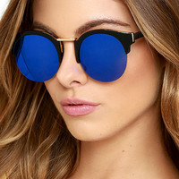 Live Your Life Black and Blue Mirrored Sunglasses
