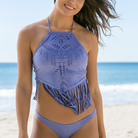Ale Swimwear - Holy Cow Fringe Crop Top | Lilac