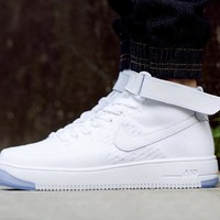 Originals Nike Air Force One 1 Flyknit Mid White Running Sport Casual Shoes '07 817420-100 Sneakers