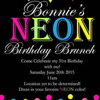 NEON & polkadots colorful Girl's  birthday invitations.  4x6, picture paper, glossy, high quality, digital, happy birthday, invites