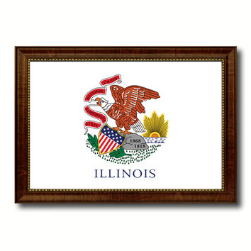 Illinois State Flag Canvas Print with Custom Brown Picture Frame Home Decor Wall Art Decoration Gifts
