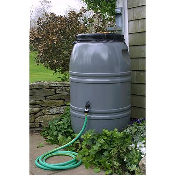 Grey 60-Gallon Re-purposed Rain Barrel with Lid in HDPE Food Grade Plastic