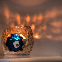 Blue Evil Eye Candle Holder, Glass Painting, Hand painted