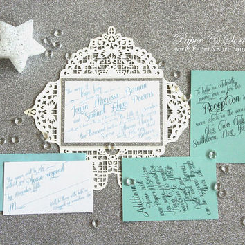 Winter Wonderland Wedding Invitation Set - Frozen Elsa Inspired - Petal Fold Glitter Invite + RSVP + Inserts - Laser Cut Design - DEPOSIT