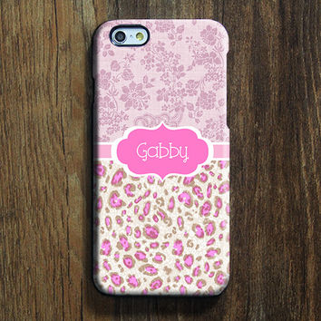 Pink Leopard Monogram iPhone 6 6s Case iPhone 6 plus Case Custom iPhone 5S 5C Case iPhone 4S Case Floral Galaxy S6 Edge S5 S4 Case 118