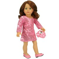 18 Inch Doll Clothes Dressy 2 Pc. Set fits American Girl Dolls , 18 Inch Doll Dress Set of Hi Fashion Pink Sequin Dress and Satin Doll Purse with Pink Ruffles & Jewel