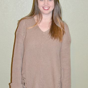 Make Your Mark Tie Up Sweater: Mocha