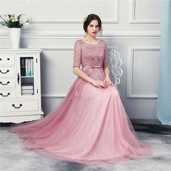New Arrival O Neck Grape Long Evening Dresses Half Sleeves See Through Floor Length Formal Evening Gown Corset Back