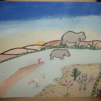 Two Paintings in One Ancient White Crane and Ancient Mother and Baby Hippo Tangle Doodle Abstract Acrylic Painting Free Shipping
