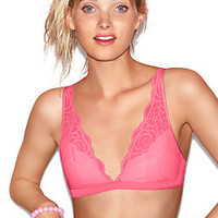 Rose Lace Plunge Bralette - PINK - Victoria's Secret