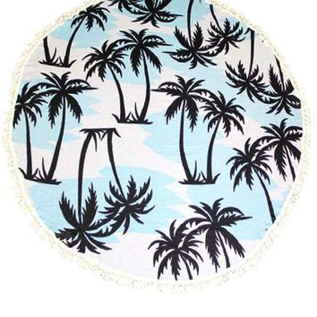 Venice Palm Tree Round Beach Scarf