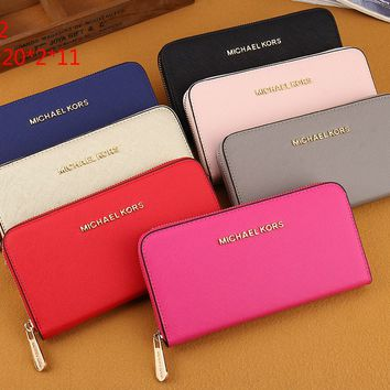 """Michael Kors"" Women Purse Simple Fashion Multifunction Zip Long Section Wallet Card Pack"