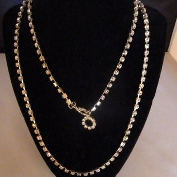Vintage rhinestone necklace extra long with silver setting costume jewelry bride wedding prom