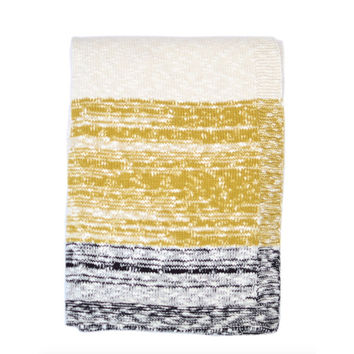 Thick and Thin Mustard Knit Throw Blanket