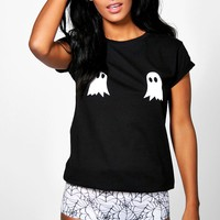 Erin Halloween Ghost Knicker And Tee PJ Set