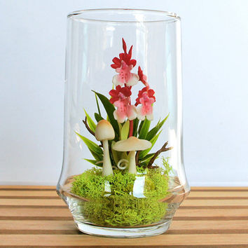 Tiny Red Dancing Lady Orchid Terrarium by MissMossGifts on Etsy