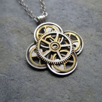 "Mechanical Flower Necklace ""Lily"" Elegant Recycled Steampunk Gear Pendant Mechanical Plant Pendant Petal Clover Luck Gift Gershenson-Gates"