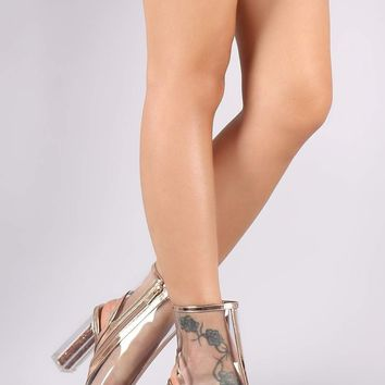 Bamboo Patent Trim Clear Glitter-Filled Chunky Heeled Booties