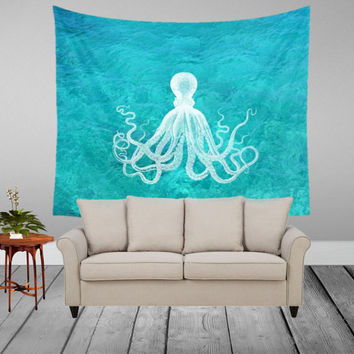 Wall Tapestry - Octopus in Clear Water - Home, Decor, Wall, Warming Gift, Symmetry, Bohemian, Boho, Squid, Turquoise, Hippie, Water, White