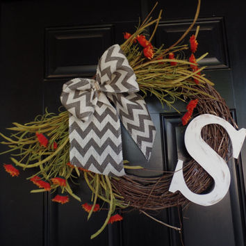 "Fall Grapevine Wreath 17""  personalized with chevron bow and fall floweers, Door Decor, Housewarming gift"
