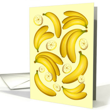 Banana Fruity Pattern, Any Occasion Blank Note (1442066)