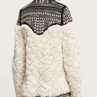 White Faux Fur with Sequined Crochet Patchwork Coat