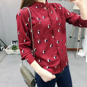 Summer Women's Fashion Irregular With Pocket Print Blouse [6513239943]