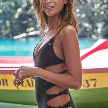 Journey Ribbed Cut Out Sides One Piece Swimsuit - Vintage Black