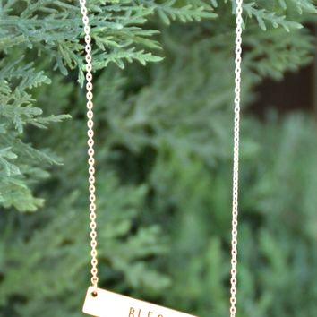 Blessed Bar Necklace - Gold