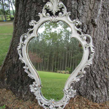 Shabby chic mirror, white mirror, vintage mirror, mirror, frame, French decor, ornate mirror, large mirror,