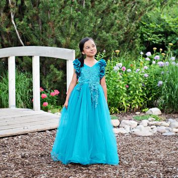 Ariana Turquoise Blue Petal Sleeve Satin & Lace Gown Dress