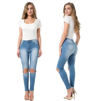 Washed Blue Denim Skinny Full-Length Pencil Pants Ripped Slim Fit Stretchable High-Waist Jeans