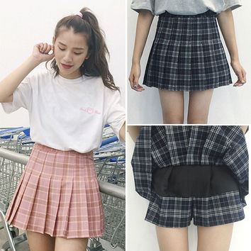 harajuku womens 2017 korean style skirt summer style new plaid pleated skirt rock kawaii high waist skirt women clothing