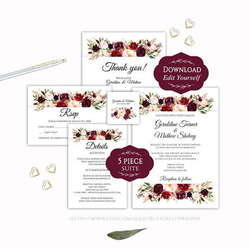 Marsala Wedding Invitation Suit Template, Marsala Floral Wedding Invites, Bohemian Wedding Invite Set, Editable Rustic Marsala Wedding Idea
