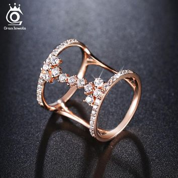 ORSA JEWELS 2017 Fashion Rose Gold/Silver Color Unique Geometric Design Rings Paved 43 Pieces AAA Zircon for Women OR149