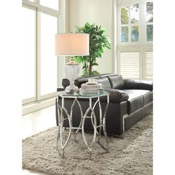 Homelegance Mila Geometric Glass Top End Table in Chrome