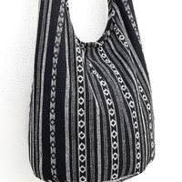 Woven Cotton bag Hobo Boho bag Shoulder Bag Sling bag Crossbody bag Long straps Black White