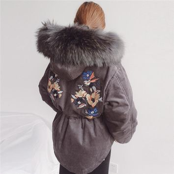 Thick Corduroy Back Embroidery Real Fur Winter Coat Down Cotton Hood Women Coat High Quality Parka Womens Winter Jackets TT3552