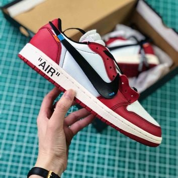 Off White X Nike Air Jordan 1 Red Low Sport Basketball Shoes - Best Online Sale